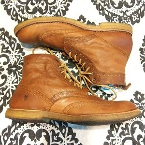 Frye Lace up Leather Brown Boots Size 13 Mens